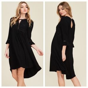 Black Knit Dress with Solid Lace Top